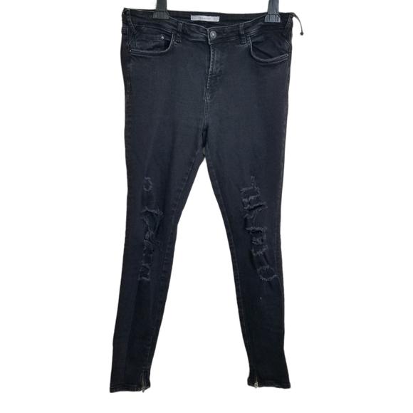 Zara Trafaluc Black Distressed Skinny Zip Jeans 12